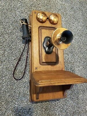 Antique Arts and Crafts Oak Wall Telephone With Copper Bells, Signed Kellogg