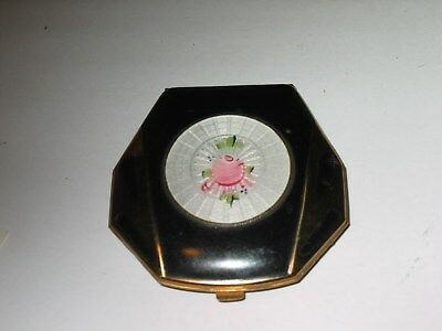 Vintage Black Deco Elgin American White Guilloche Pink Rose Powder Rouge Compact