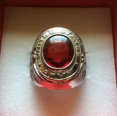 WW2 US Army Sterling Silver 925 Ring Red Quartz Men's