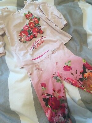 ted baker baby girl Top And Leggings Set 3-6 Months Rabbit Print By Baker