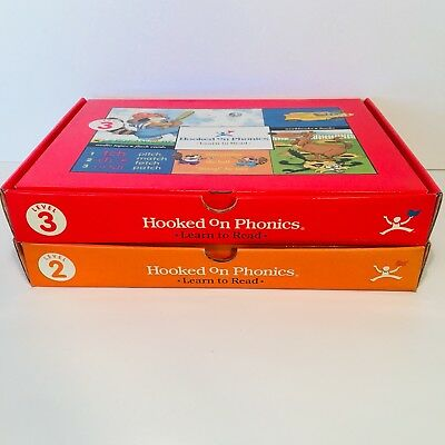 HOOKED ON PHONICS learn to read level 2, 3 Flash Cards Audio Tapes Workbooks