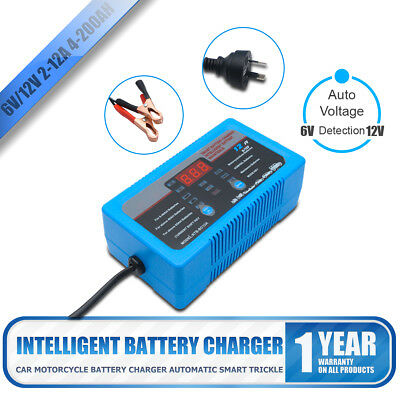 6V 12V Intelligent LCD Battery Tester Charger 7 Stages 2A 8A 12A 4-200AH Repair