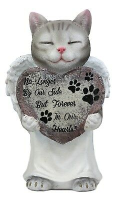 """Angel Cat Pet Memorial Figurine 11 Inch """"Forever in Our Hearts"""" Statue"""