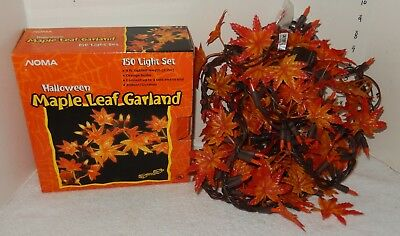 NOMA Halloween Maple Leaf Garland 150 light set 9' long end to end~~NICE