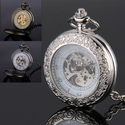 Vintage Roman Stem-winding Pocket Fob Watches Open Window with Chain Gift