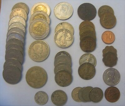 43 Coins From the Philippines W/ Centavo, Sentimos and Piso Various Dates