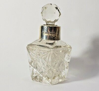 ANTIQUE CUT GLASS SCENT PERFUME BOTTLE SILVER COLLAR Robert Pringle 1907
