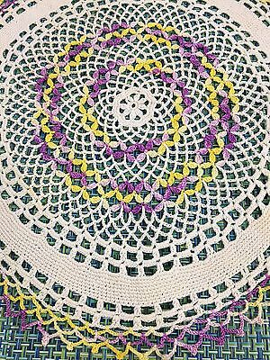 """Vintage Large 13 1/2"""" White Crochet Doily With Yellow And Purple ~Centerpiece"""