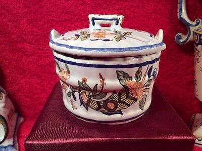 Antique French Rouen Faience Covered Salt or Butter Tub, ff340  GIFT QUALITY!!