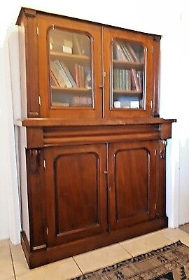 A Wonderful 19Th Century Mahogany Small Glazed Bookcase Of Good Proportions