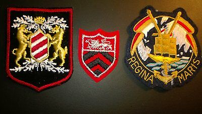 Vintage Set of 3 Royal, Heraldic, Crest Family, Coat of Arms Etc. Patches