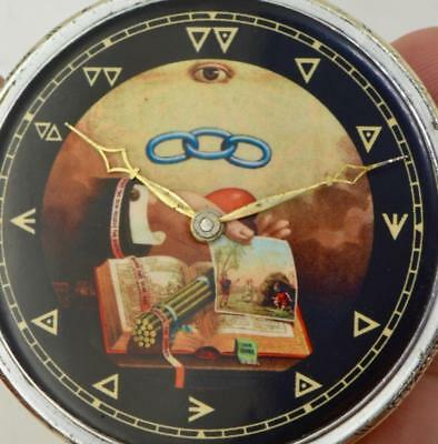 Rare antique Art-Deco Masonic Swiss pocket watch c1930's. NO RESERVE! WORKING!