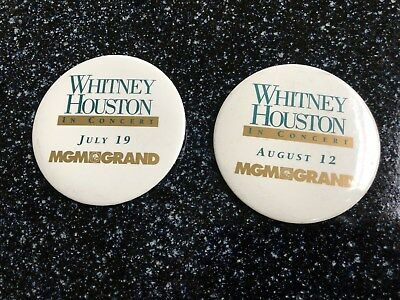 Whitney Houston MGMGRAND Concert 1994 2 Pinback Buttons July 19 & Aug 12