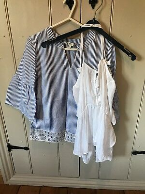 Two Next Summer Tops Size 6 White cami (bnwt) + blue stripe tunic (used) bundle