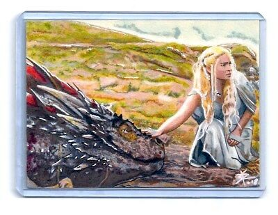 1/1 Sketch Card Game Of Thrones Khaleesi And The Dragon