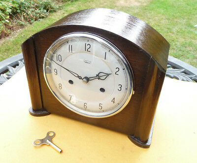 Restored vintage  Striking 1951 Smiths/Enfield mantle clock with key.