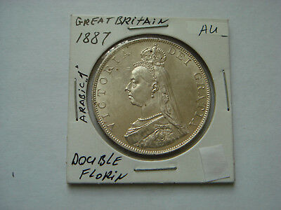 1887 (arabic 1) GREAT BRITAIN Double Florin (22.62g.,.925 silver) in AU+ Cond.