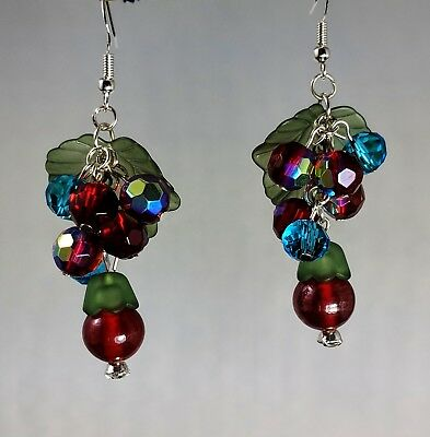 Art deco 1940s 1950s Rockabilly style Cherries 295 silver hook Earrings