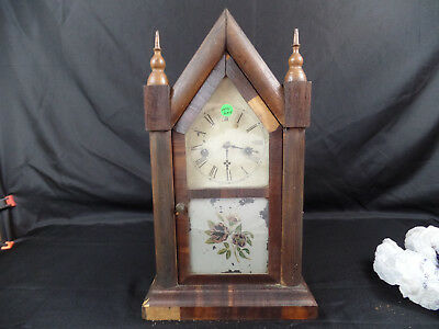 Antique Vintage Waterbury Steeple 8 Day And 30 Hour Mantel Clock Connecticuit L9
