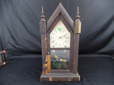 Antique Vintage New Haven Steeple 8 Day And 30 Hour Mantel Clock Connecticuit L9