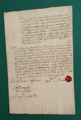 `1667  London Will or Legal Document with Red  Wax Seal