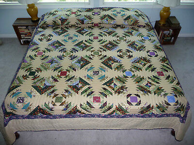 Amish Handmade Quilt Pineapple Log Cabin New Amish Quilt - New Amish King Queen