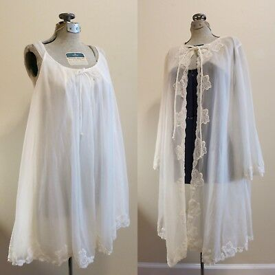 Lingerie Set Wedding Bridal white chiffon sheer night gown pinup babydoll M