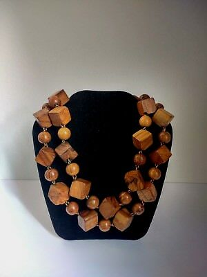 Beautiful True Vintage Art Deco Delicate Wood Necklace Metal Links 20s 30s RARE
