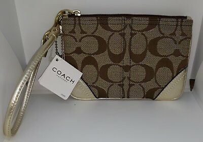 NWT Authentic Coach Wristlet Signature Small Wristlet Gold FS6F08 BKHGD
