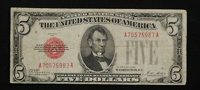 1928 Five Dollar Bill Red Seal Note Randomly Hand Picked Vg/Fine FREE SHIPPING