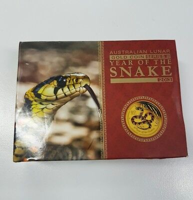 Rare 1/10 ounce Proof Perth Mint Lunar Snake Gold Coin .9999 Series 2 year 2013