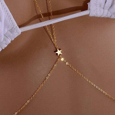ALS_ Beauty Girl Crossover Star Harness Bikini Body Belly Waist Necklace Chain L