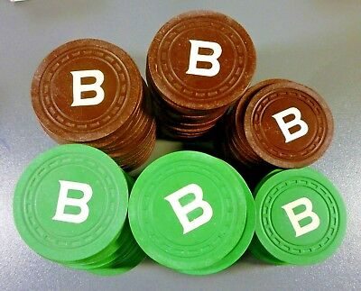 2 Casino Chips From Brook Club Casino Saratoga Springs NY Green and Brown