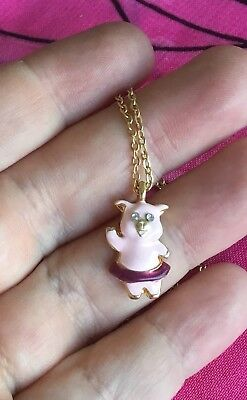 Vintage Antique Gold Crystal Enamel Pig Animal Necklace Vtg Estate Find Kitsch