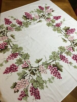 Vintage Tablecloth Printed with grapes and grapevines on white background