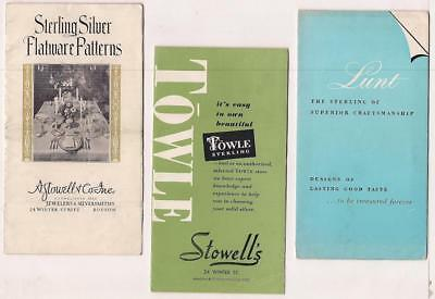 3 Sterling Silver Flatware Pattern Booklets~Stowell's 1930~Towle 1953~Lunt 1951