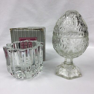 2x Vintage 70's Avon Cup Candle Holders One Glass + Lid One Faceted Crystal EUC