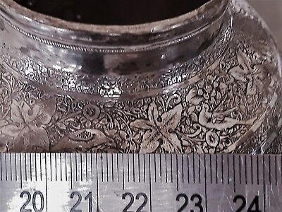 Exceptional Artwork Antique Persian Solid Silver Vase By  Master Lahiji