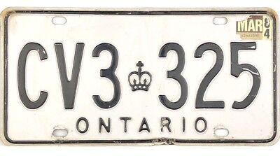 *99 CENT SALE*  1984 Ontario License Plate #CV3-325 No Reserve
