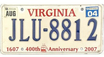 *99 CENT SALE*  2007 Virginia License Plate #JLU-8812 400 Years No Reserve