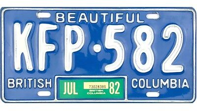 *99 CENT SALE*  1982 British Columbia License Plate #KFP-582 NICE No Reserve
