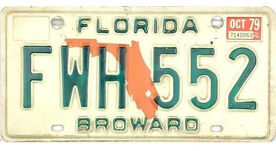*99 CENT SALE*  1979 Florida License Plate Broward County #FWH552 No Reserve