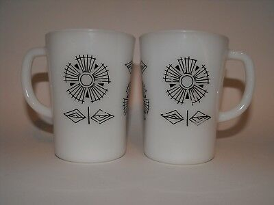 Crown Corning Cups Mugs Black Abstract Flowers on White x 2 - ReTrO Vintage '70s
