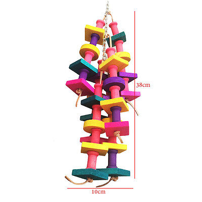 Pet Parrot Bird Chew Cages Hang Toys Wood Large Rope Cave Ladder Chew Toy