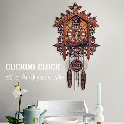 Handcraft Wood Cuckoo Clock Tree House Swing Wall Clock Home Decor 2018
