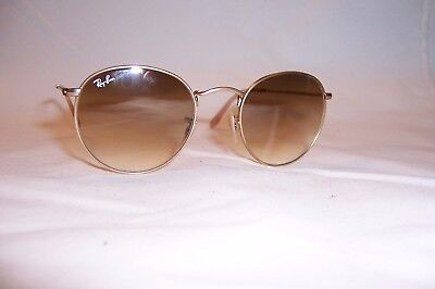 1f3486cef2 New RAY BAN ROUND METAL Sunglasses 3447 112 51 MATTE GOLD  BROWN 50mm  AUTHENTIC
