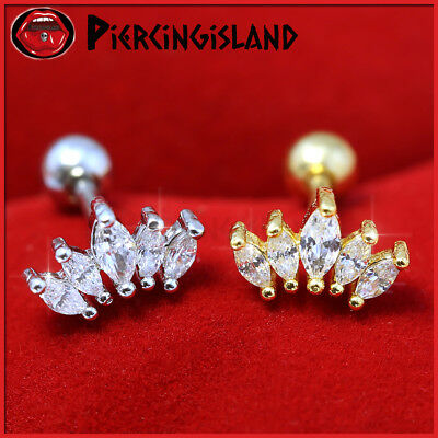 16g Crystal Crown Ear Climber Cartilage Helix Stud Ring Bar Piercing Earring NEW