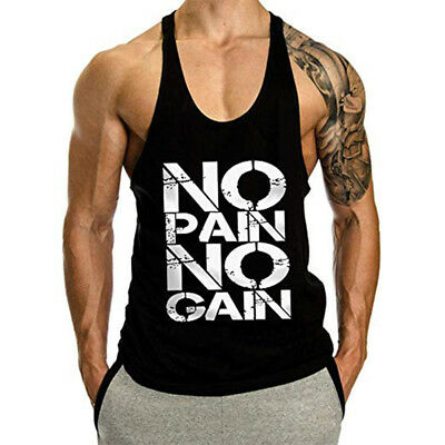 Men's Athletics NO PAIN NO GAIN Print Stringer Tank Top Men Fitness T shirt