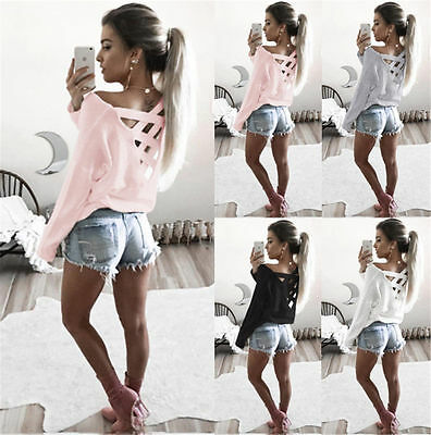 Hot Fashion Womens Summer Long Sleeve Tops Casual Blouse Loose Cotton T Shirt US