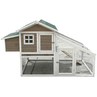 Chicken Coop XLarge Pitch Roof Hen house Chook Hutch Run Cage With Egg Cage P058
